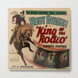 Vintage Western Movie Poster Rodeo King Metal Print