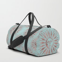 Ancient Sun Face Copper And Teal Duffle Bag