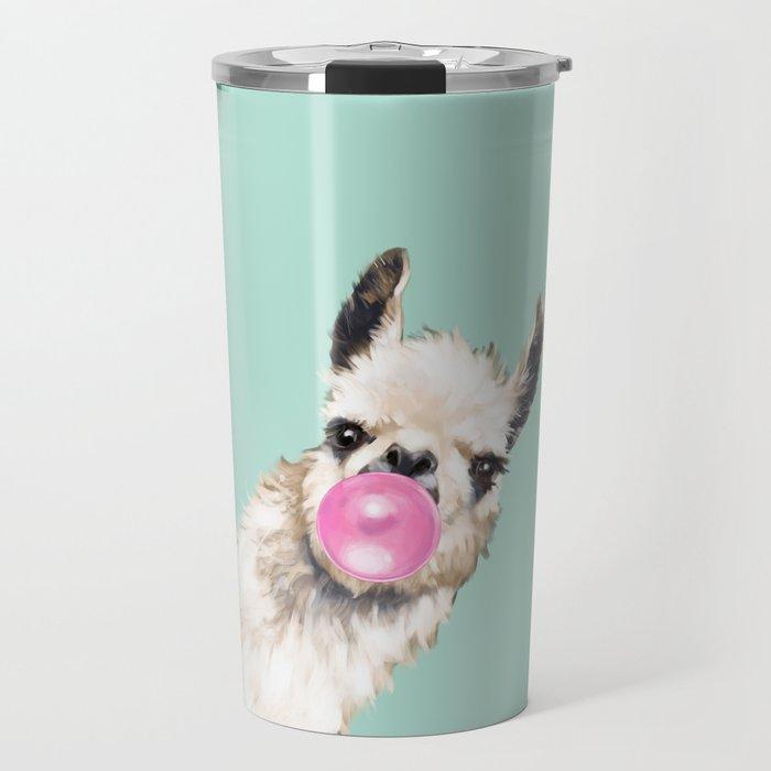 Bubble Gum Sneaky Llama in Green Travel Mug