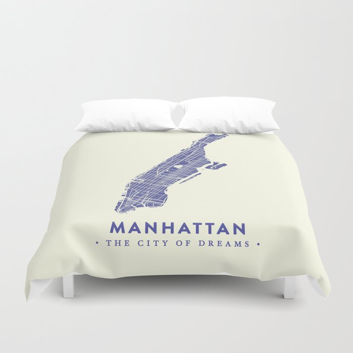 Manhattan Map NYC Duvet Cover