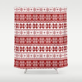 Red Winter Fair Isle Pattern Shower Curtain