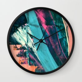 Wild [7]: a bold, colorful abstract mixed-media piece in teal, orange, neon blue, pink and white Wall Clock