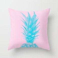 Blue Pineapple Xerox + Pink Throw Pillow