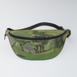 garden 020 Horses  plow  Lawn grass  iron road  field  trees  house5 Fanny Pack