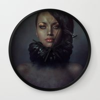 raven Wall Clocks featuring Raven by Flo Tucci