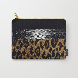 ANIMAL PRINT CHEETAH LEOPARD BLACK WHITE AND GOLDEN BROWN Carry-All Pouch