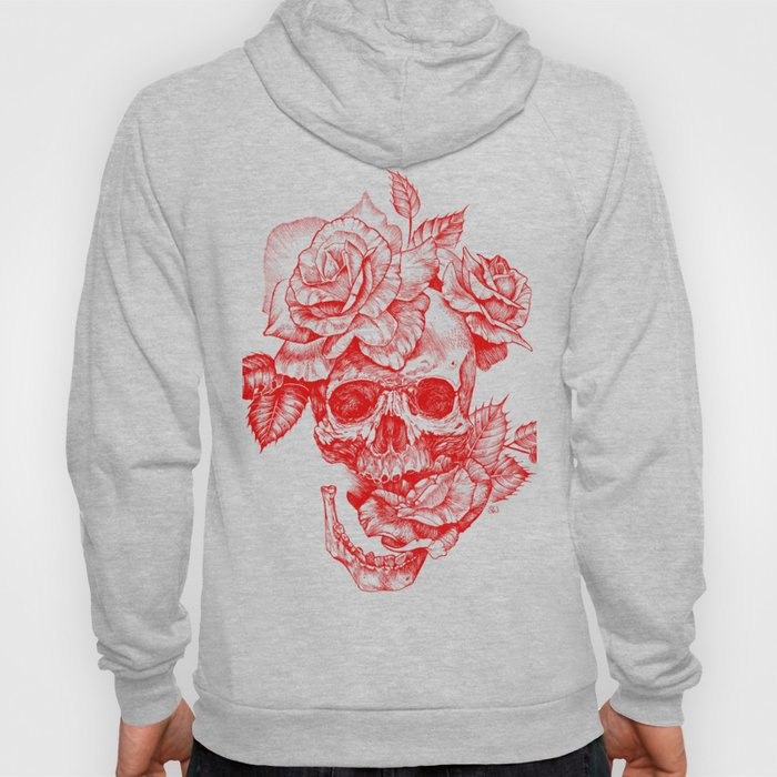 Roses and Human Skull - Red Hoody