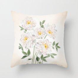 White Peonies  Throw Pillow