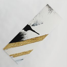 Armor [8]: a minimal abstract piece in black white and gold by Alyssa Hamilton Art Yoga Mat