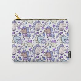 Modern hand painted purple violet magic unicorn illustration Carry-All Pouch