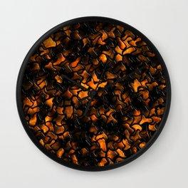 Ancient Amber Wobbly Mosaic Tiles Wall Clock