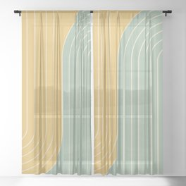 Two Tone Line Curvature XVII  Sheer Curtain