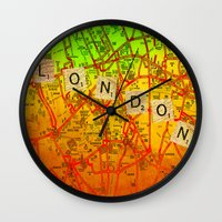 london map Wall Clocks featuring London Map by Ganech joe