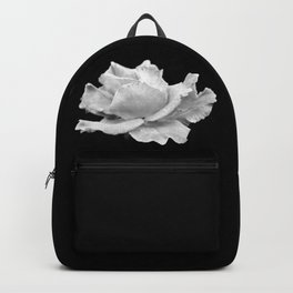 White Rose On Black Backpack
