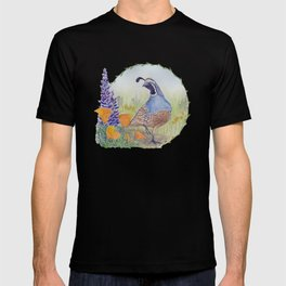 California Quail with Poppies and Lupine on Blue T-shirt