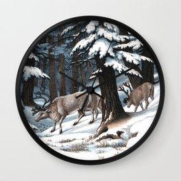 Renne de l'Europe | Vintage Animal Illustration Wall Clock