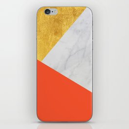 Carrara Marble with Gold and Pantone Flame Color iPhone Skin