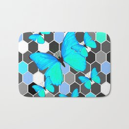 NEON BLUE BUTTERFLIES ON MODERN ABSTRACT ART Bath Mat