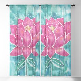 Sacred Lotus – Magenta Blossom with Turquoise Wash Sheer Curtain