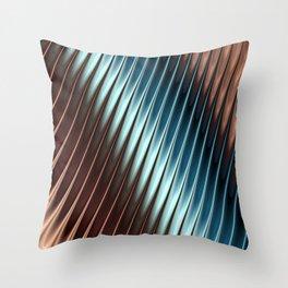 Stripey Pins Teal & Taupe - Fractal Art Throw Pillow