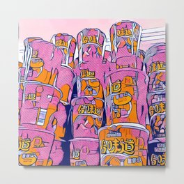 PopArt Noodles Pink in Milano Metal Print