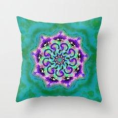 Spider Eye Mandala - Green BG Throw Pillow