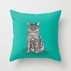 Cute Sitting Cat egyptian mau cat breed customized pet portrait cat lady gifts perfect for cat owner Throw Pillow