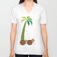 coconut wishes V-neck T-shirts featuring Coconut Twins by HK Chik