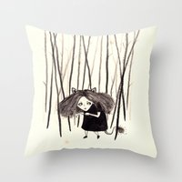 into the wild Throw Pillows featuring wild by Soju Shots