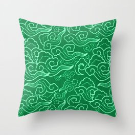 Vintage Japanese Clouds, Jade Green Throw Pillow