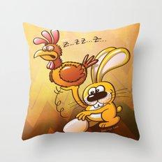 Easter Bunny Stealing an Egg from a Hen Throw Pillow