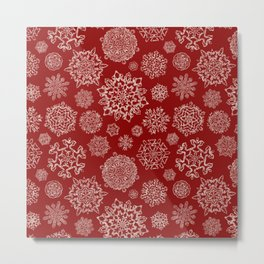 Merry Christmas- Abstract christmas snow star pattern on festive red I Metal Print