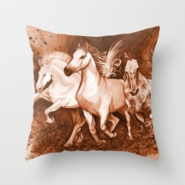 Sepia horses Throw Pillow