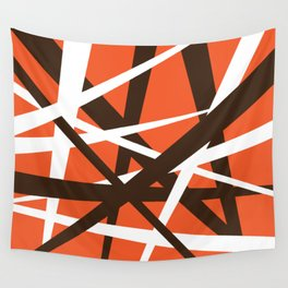 Brown Orange and White Abstract Stripes Wall Tapestry