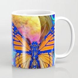 SURREAL BLUE  MONARCH BUTTERFLIES & IRIDESCENT BUBBLES  ART Coffee Mug
