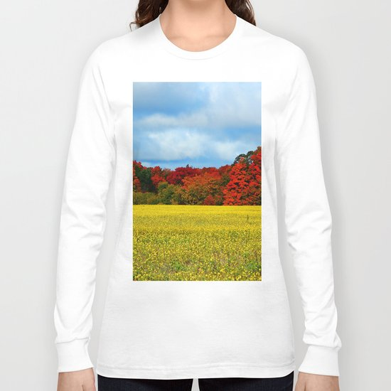Blue Red Yellow Green and White Long Sleeve T-shirt