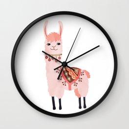 Cute Lama Sticker Wall Clock