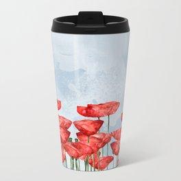 Poppyfield poppies poppy blue sky- watercolor artwork Metal Travel Mug