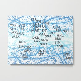World Airport Code Map Metal Print