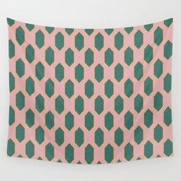 Mid century Diamond pattern Pink Wall Tapestry