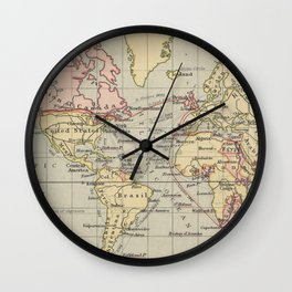 Vintage Map of The World (1914) Wall Clock