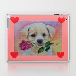Puppy with quote Love My Love my Dog Laptop & iPad Skin