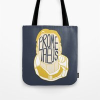 prometheus Tote Bags featuring Prometheus by SleptAwoke