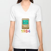 1984 V-neck T-shirts featuring 1984 by Laura Wood
