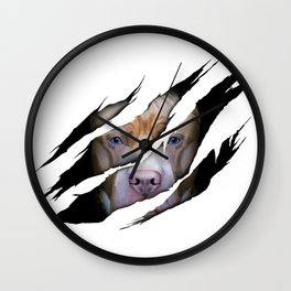 Pit Bull Torn Effect illustration Wall Clock