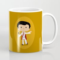 elvis presley Mugs featuring Elvis Presley by Sombras Blancas Art & Design