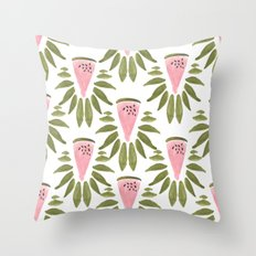 Watermelon and Leaves Throw Pillow
