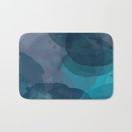 Abstract Watercolor Circles in Ombre Blue Bath Mat