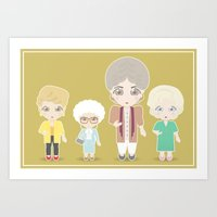 golden girls Art Prints featuring Girls in their Golden Years by Ricky Kwong