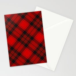 Red Tartan with Diagonal Dark Red and Black Stripes Stationery Cards